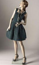 Authentic Lanvin Dark Hunter Green Silk Short Pleated Dress With Pockets Euro 40