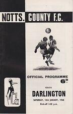 NOTTS COUNTY v DARLINGTON ~ 13 JANUARY 1968 ~  FOOTBALL PROGRAMME