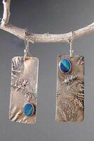 Nice Thai 925 Silver Turquoise Handmade Hook Asymmetry Dangle Earrings Jewelry