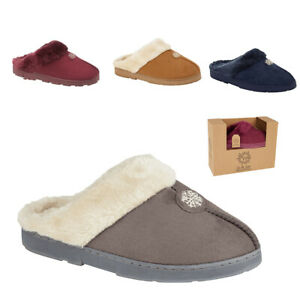 Ladies Jo & Joe Gift Boxed Sued Faux Fur Trim Lined Slip On Warm Mule Slippers