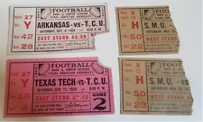 FOUR 1958 & 1959 TCU vs ARKANSAS, TEXAS TECH & SMU TICKET STUBS ~ AMON G CARTER