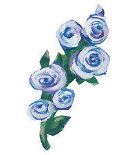 WALLIES BLUE ROSES wall stickers 25 prepasted decals sprigs flowers decor garden