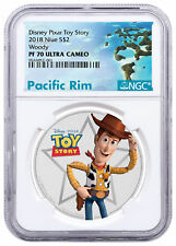 2018 Niue Disney Toy Story - Woody 1 oz Silver Colorized $2 NGC PF70 UC SKU52018
