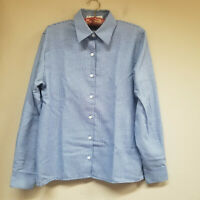 Foxcroft Women's Button Front Shirt Long Sleeve Wrinkle Free Plaid Blue Size 6.