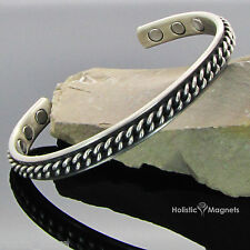 Mens Copper Magnetic Bracelet Health Bangle Arthritis Pain Relief - Silver Chain