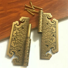 2x Door Hinges Retro Embossed Brass Bronze Antique Cabinets Wood Furnitures Home