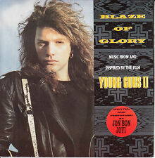 "JON BON JOVI  Blaze Of Glory PICTURE SLEEVE 7"" 45 record + juke box title strip"
