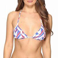 Onia Women's Swimwear Blue White Size Small S Triangle Bikini Top $85 939