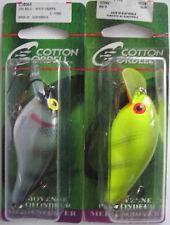 """2 - COTTON CORDELL Big O Lure - 3"""" - White Crappie & Chartreuse Perch"""