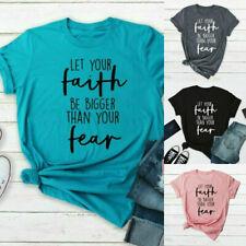 Women Faith Religious Saying T Shirt Letter Print Tops Summer Fashion Blouse Tee