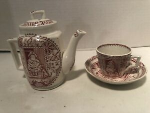 CHILDREN DISHES CHINA STAFFORDSHIRE ENGLAND RED DESIGN