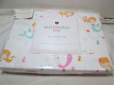 New Authentic Kids MERMAIDS SEAHORSE FISH Starfish 100% Cotton Twin Sheet Set