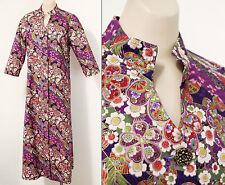 Modern Purple Gold Print Maxi Dress Size 12 14 L XL 41-38-44 Boho Vintage Retro