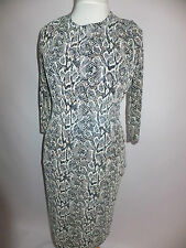 New Diva Collection Ladies Snake Print Lurex Midi Dress Cream Multi UK10 12, 14