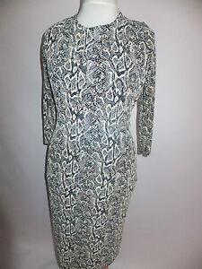 New Diva Collection Ladies Snake Print Lurex Midi Dress Cream Multi UK10 12, 14