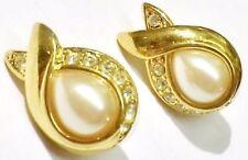 boucles d'oreilles percées bijou vintage couleur or cristal diamant signé 1881