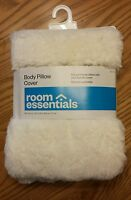 White Faux Fur - Body Pillow Case Cover - Super Soft - Room Essentials - RE
