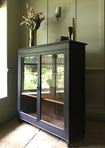 Antique Early C20th Glazed Painted Black China Display Drinks Cabinet Bookcase