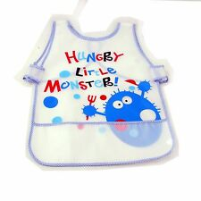 New Waterproof EVA Baby Toddler Easy Wipe Bibs back strap pouch apron Boy