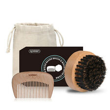 Men's Handmade Wooden Comb 100% Boar Bristle Brush and Beard Comb Set Beard Care