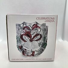 Celebrations By MIKASA Christmas Holiday Bells Crystal Votive Candle Holder NIB