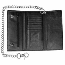 RFID Cowhide Genuine Leather Trifold Metal Chain Biker Tall Core Trucker Wallet