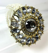 LADIES CHUNKY LAYERED ABSTRACT MEDALLION PEARL BRACELET MULTI STONE (ST81)