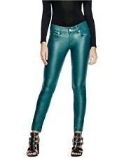Guess Women's Lanori Coated Skinny Jeans Medium Rise Ankle In Deep Teal Size 25