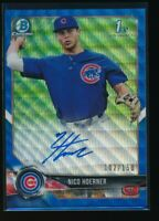 NICO HOERNER AUTO 2018 1st Bowman Draft Chrome BLUE WAVE REFRACTOR #/150 Cubs RC
