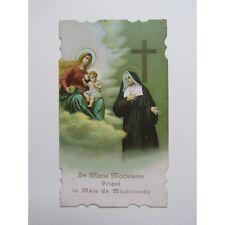 IMAGE PIEUSE ANCIENNE : Ste M.-Madeleine (Postel) priant la Mère de Miséricorde