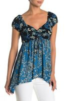 Free People Womens OB931387 Top Relaxed Black Multicolour Size XS