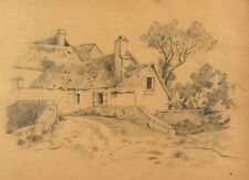 Antique French Pencil Drawings, Landscape, Houses & Bridge, Foliage Study, 1893