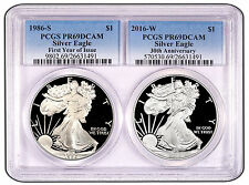"""2016 """"30th Anniversary Special"""" Silver Eagle 2-Coin Proof Set with 1st Year of I"""