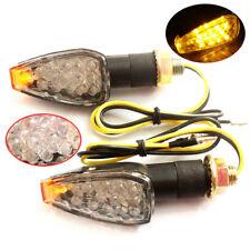 UNIVERSAL MOTORCYCLE MINI 14 LED TURN SIGNALS INDICATORS BLINKER LIGHT AMBER 2pc