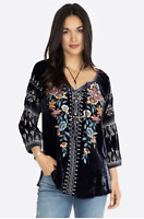 💕NWT! JOHNNY WAS JWLA Embroidered ELENI Velvet PEASANT BLOUSE V Neck XS $278