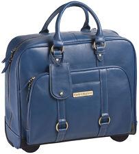 "Clark & Mayfield Hawthorne 17.3"" Leather Rolling Laptop Bag Briefcase - Blue"