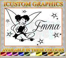 personalised NAME tinkerbell fairy dust girls vinyl car sticker laptop wallart