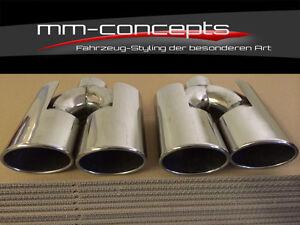 Endrohr Edelstahl universal Auspuff blende Anschweißendrohr Turbo 4 x 96 GTR AMG