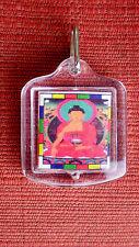 Traditional Tibetan Buddhist Deity Pendant Shakyamuni Buddha w/ Orange Mantra