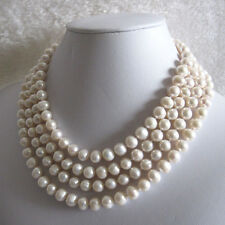 "68"" 7-9mm White Cultured Fresh Water Pearl Strand Necklace Jewelry U"