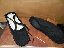 CAPEZIO Black SPLIT SOLE BALLET SHOES CANVAS DANCE 2039 suede sole X elastics