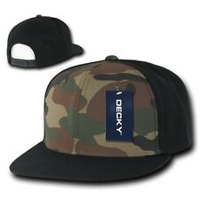 Black & Woodland Camouflage Flat Bill Snapback Camo Baseball Cap Caps Hat Hats