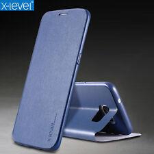 DE LUJO X-Level FUNDA Piel Suave Soporte Carcasa con Tapa Para Samsung S6 S7 S8