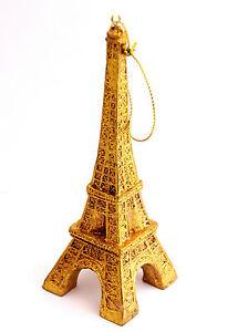 AWESOME GOLD TONE SHINY EIFFEL TOWER PARIS FRANCE CHRISTMAS TREE ORNAMENT DECOR
