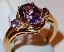 3-stone Amethyst twist ring (1.75ct), gold overlay Sterling Silver, Size N.