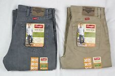 New Wrangler Regular Fit Jeans with Flex Men's Sizes Two Colors Grey and Khaki