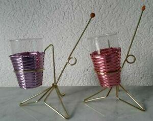 2 Salzstangenbehälter Pretzel Stand Partyzubehoer Anodized Aluminium Glass 50er