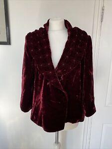 Vintage Kaliko Crushed Velvet Blazer Jacket Short Large Collar 14 Red Bordeaux