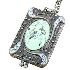 New Retro Chinese Mural Style Enamel Bird Locket Box Long Chain Sweater Necklace