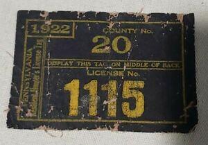 VINTAGE INCREDIBLY RARE 1922 CLOTH PENNSYLVANIA HUNTING LICENSE CRAWFORD COUNTY